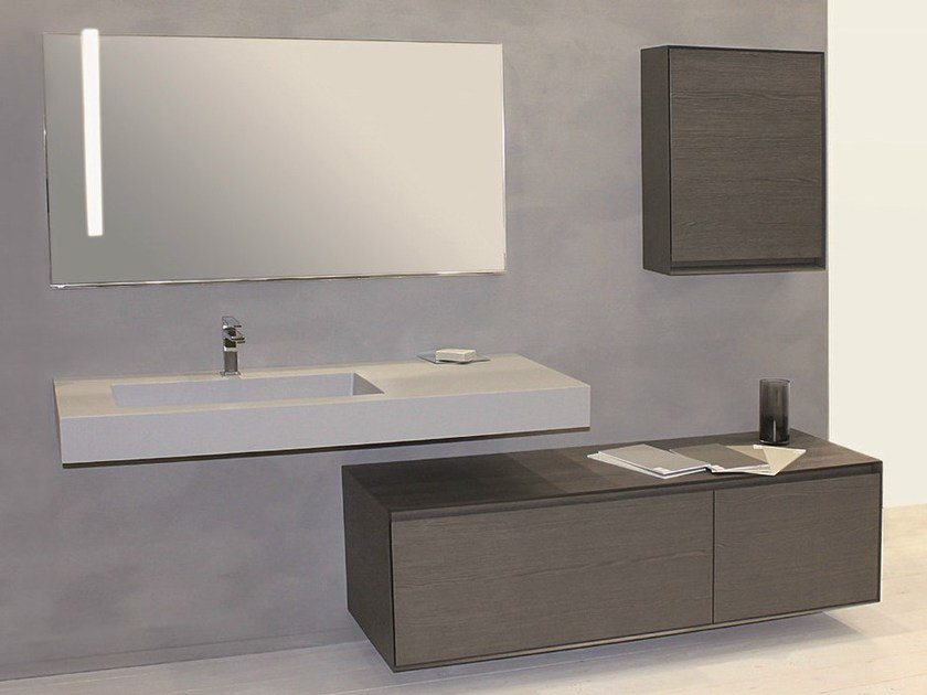 Wall-mounted vanity unit with drawers LU.36 by Mobiltesino