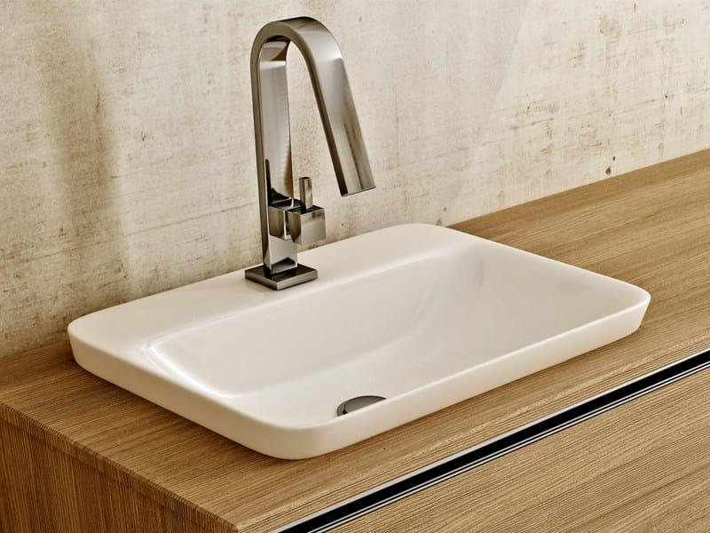 Inset rectangular ceramic washbasin SOUL by Edoné by Agorà Group