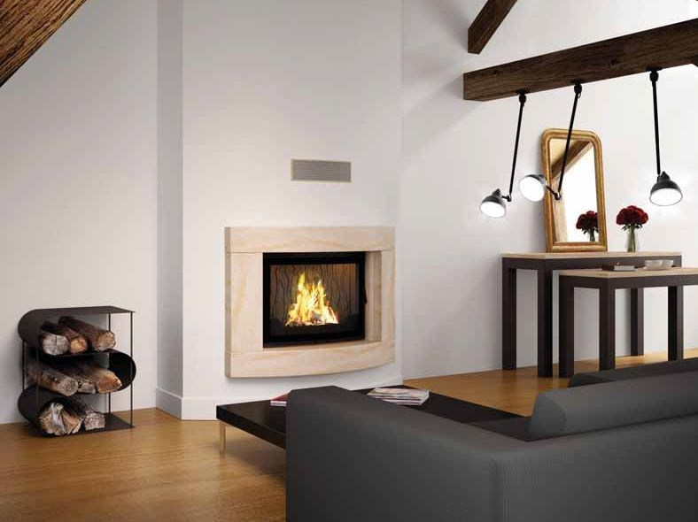 Wood-burning built-in wall-mounted fireplace HERMES by CHEMINEES SEGUIN