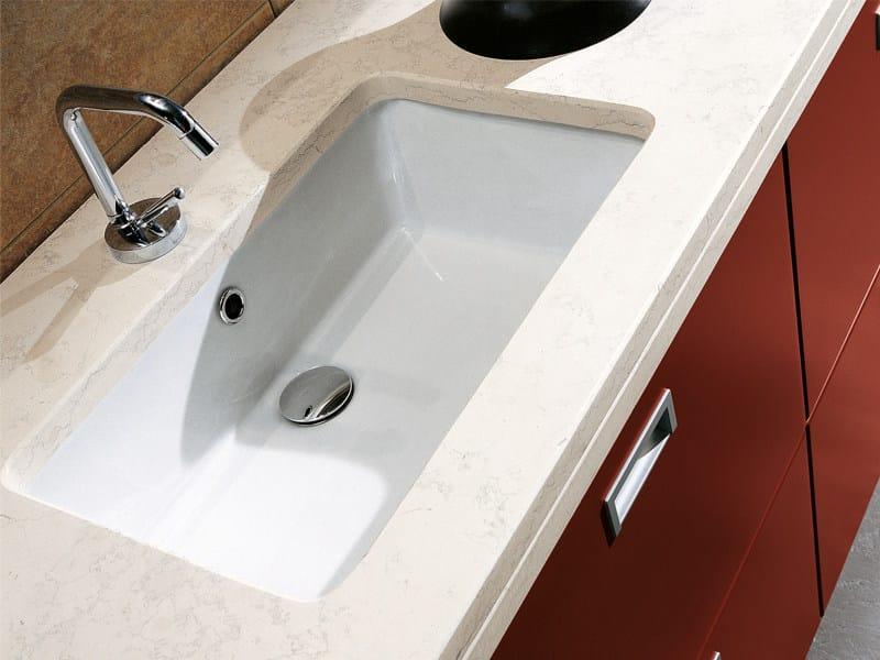 Undermount rectangular ceramic washbasin GEA by Edoné by Agorà Group