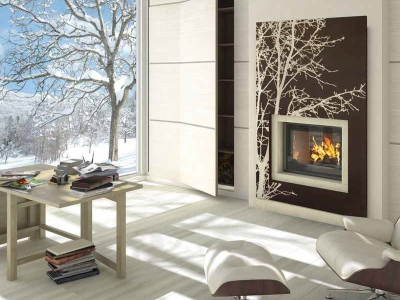 Wood-burning built-in wall-mounted fireplace RIGA by CHEMINEES SEGUIN