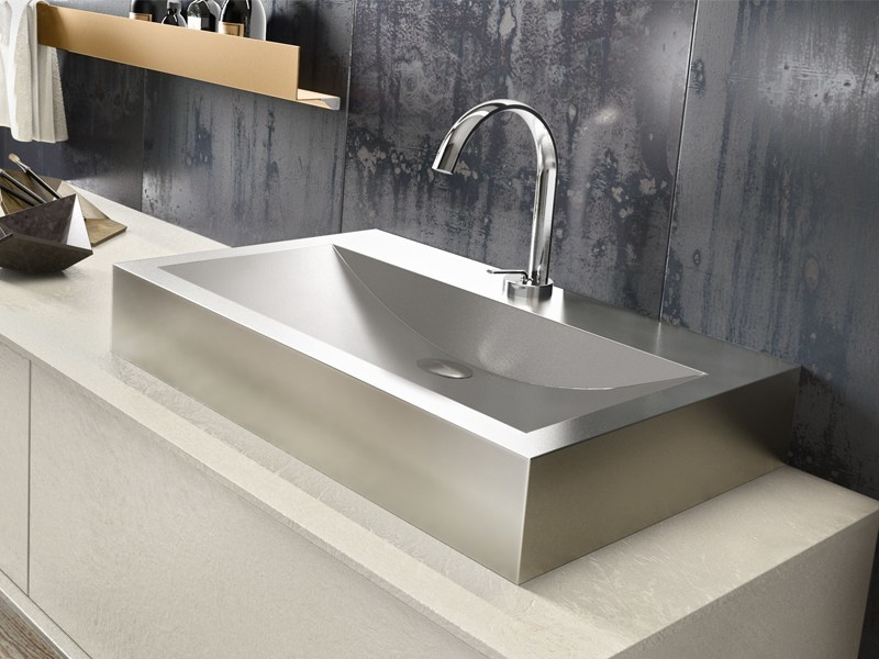 Countertop rectangular glossy steel washbasin BLOCK by Edoné by Agorà Group
