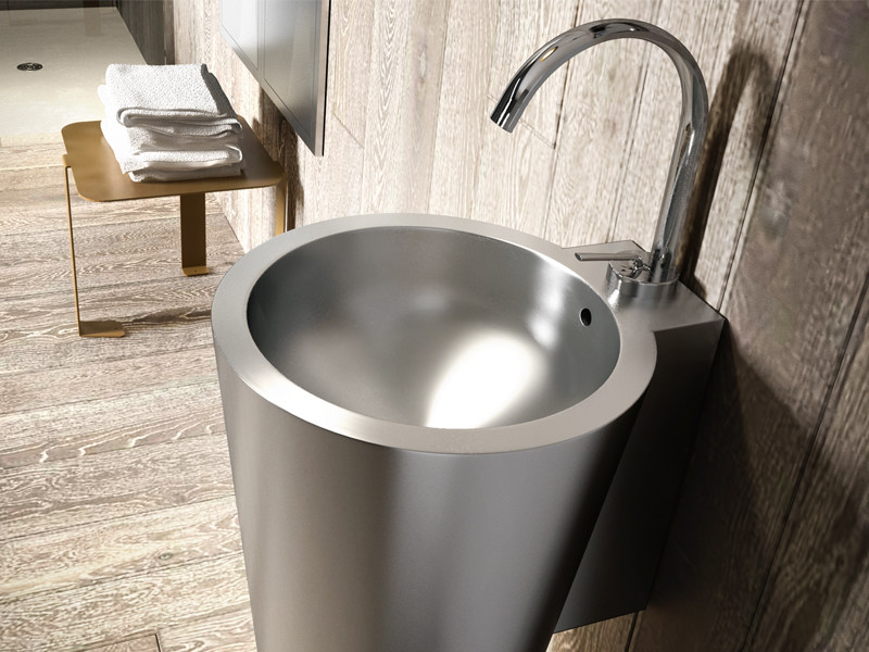 Freestanding round glossy steel washbasin STEEL by Edoné by Agorà Group