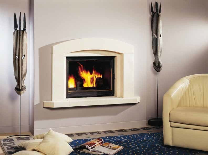Wood-burning built-in wall-mounted fireplace URBANE by CHEMINEES SEGUIN