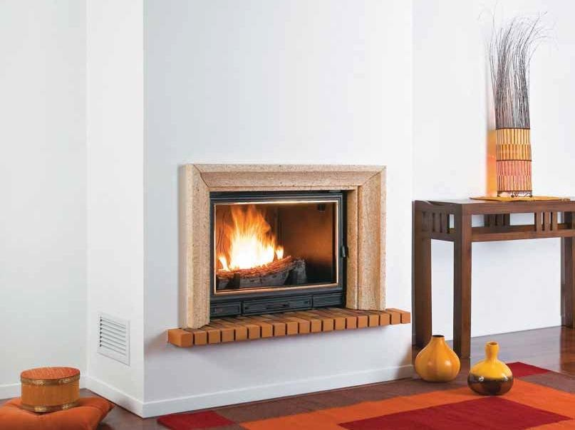 Wood-burning built-in wall-mounted fireplace SEYCHELLES by CHEMINEES SEGUIN