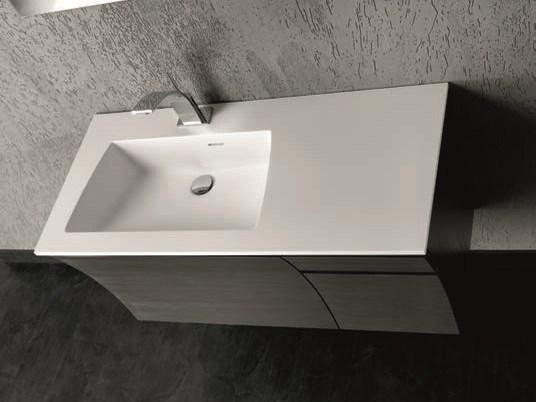 Elm vanity unit with drawers with mirror S120 by Mobiltesino
