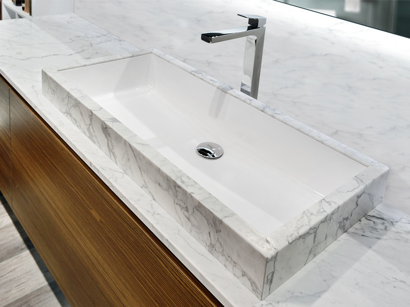 Inset rectangular marble washbasin FILO by Edoné by Agorà Group