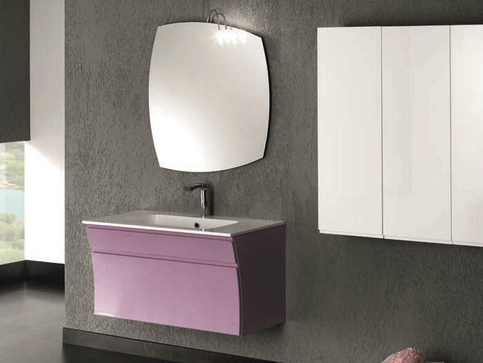 Single wall-mounted vanity unit S123 by Mobiltesino