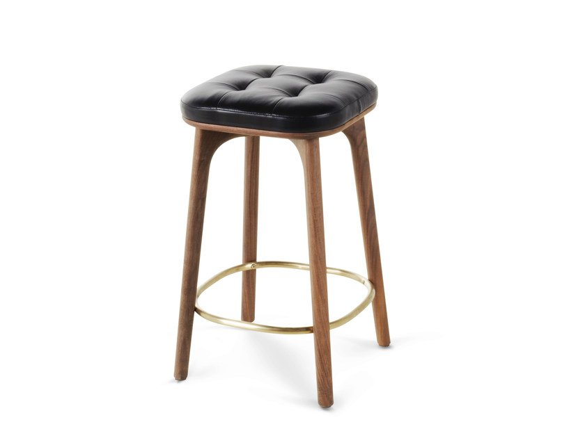 High wooden barstool with footrest UTILITY STOOL H610 by STELLAR WORKS