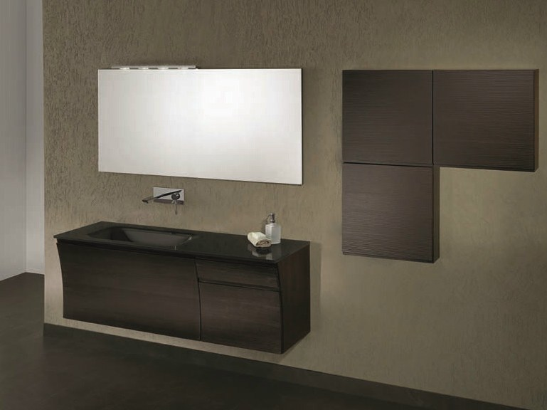 Single wall-mounted vanity unit with drawers S124 by Mobiltesino