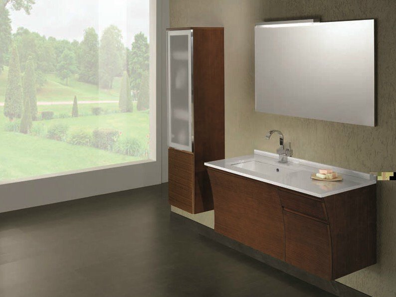 Elm vanity unit with cabinets with drawers S125 by Mobiltesino