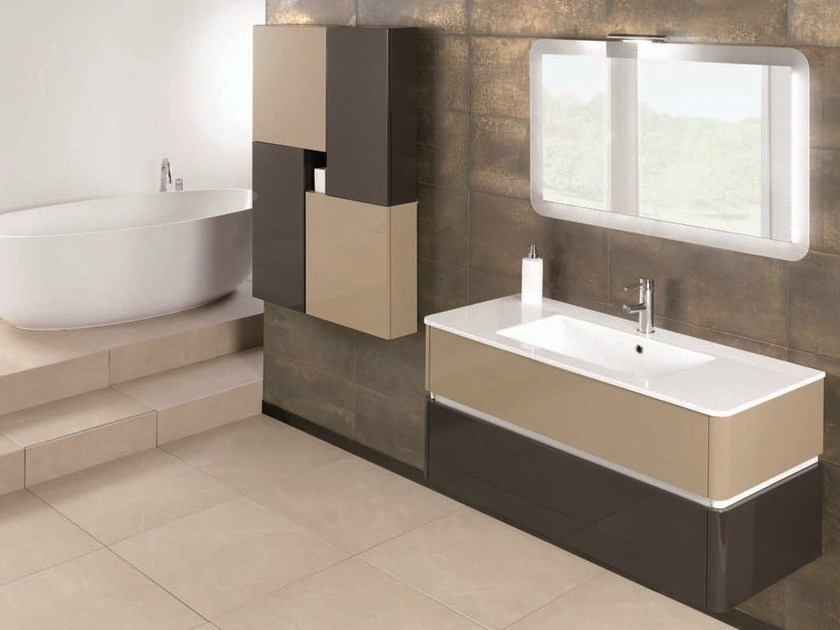 Lacquered single vanity unit QU31 by Mobiltesino