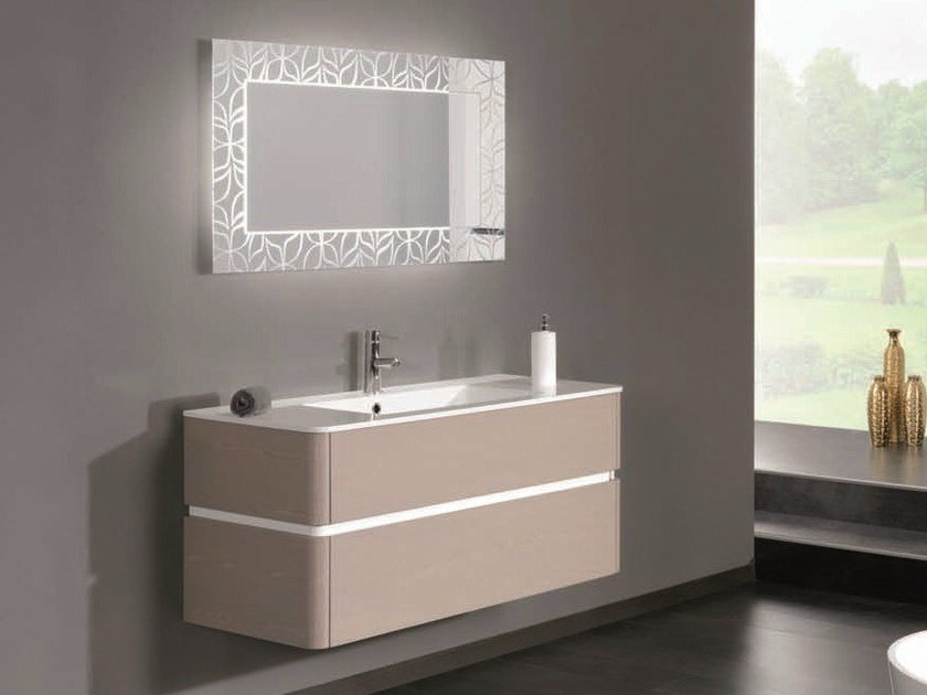 Lacquered single vanity unit QU36 by Mobiltesino