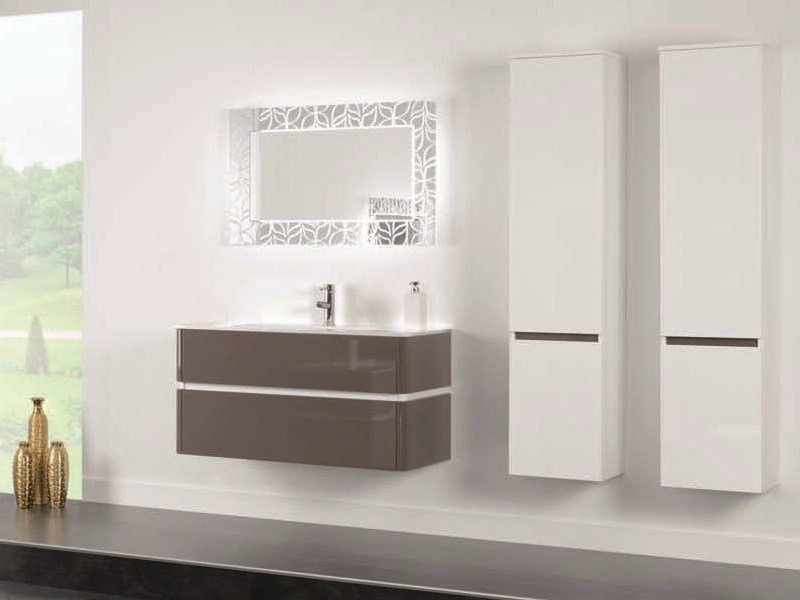 Lacquered single vanity unit QU40 by Mobiltesino