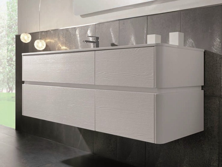 Single wall-mounted vanity unit QU33 | Vanity unit by Mobiltesino