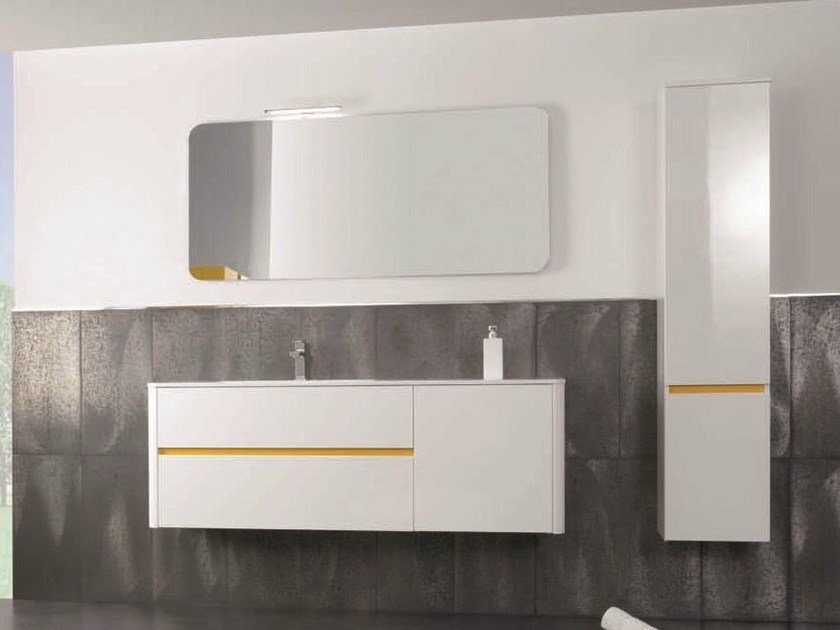 Vanity unit with doors with drawers QU32 | Vanity unit by Mobiltesino