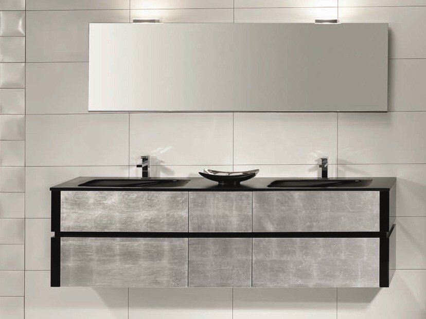 Double vanity unit with drawers QU21 by Mobiltesino