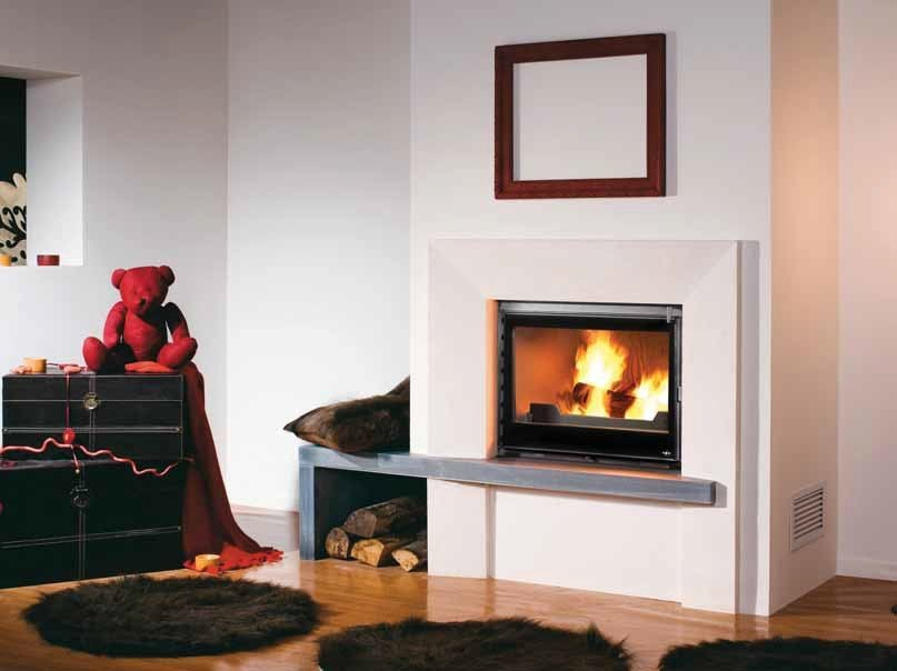 Wood-burning built-in wall-mounted fireplace KÉVA by CHEMINEES SEGUIN
