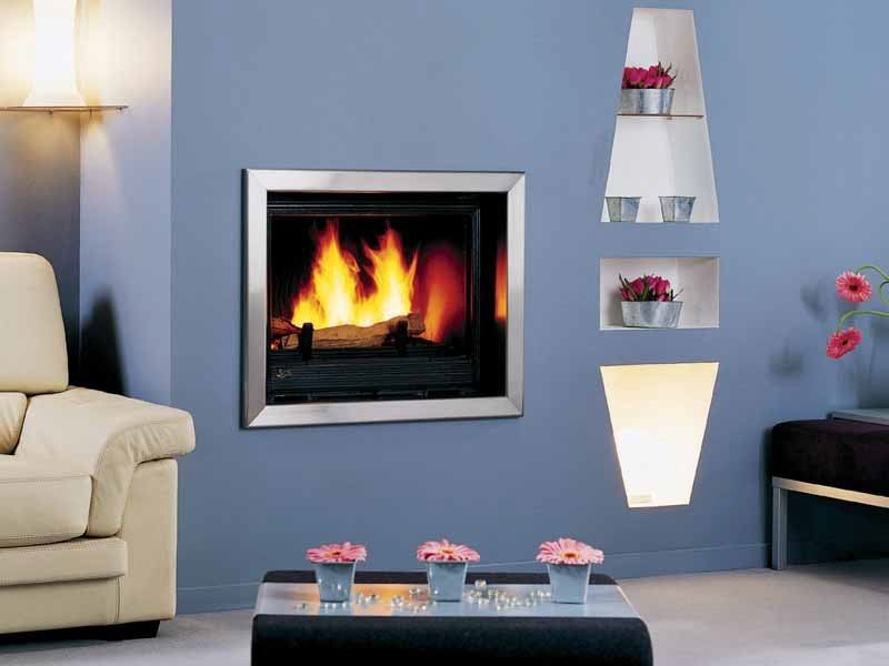 Wood-burning built-in wall-mounted fireplace KARA INOX by CHEMINEES SEGUIN