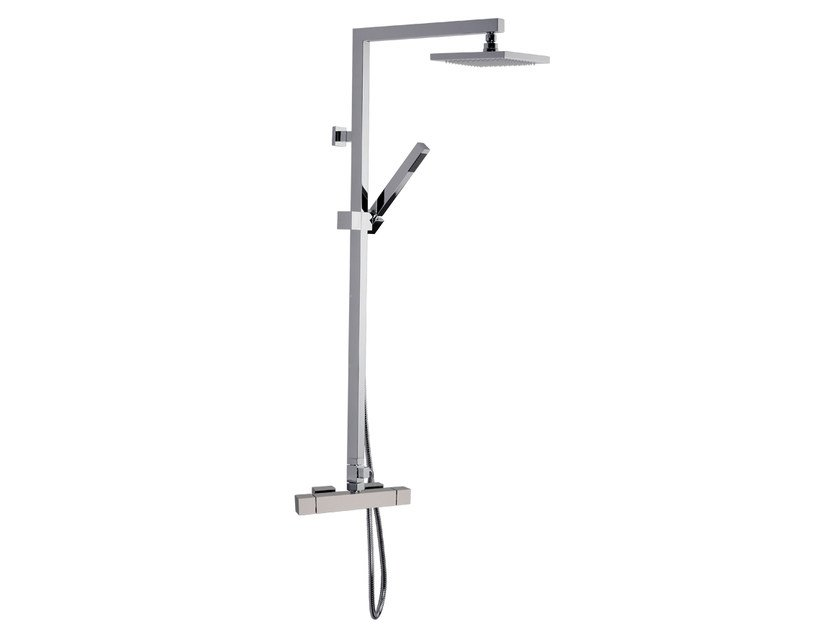 Wall-mounted thermostatic shower panel with overhead shower A39-C2 | Shower panel by Rubinetterie Mariani