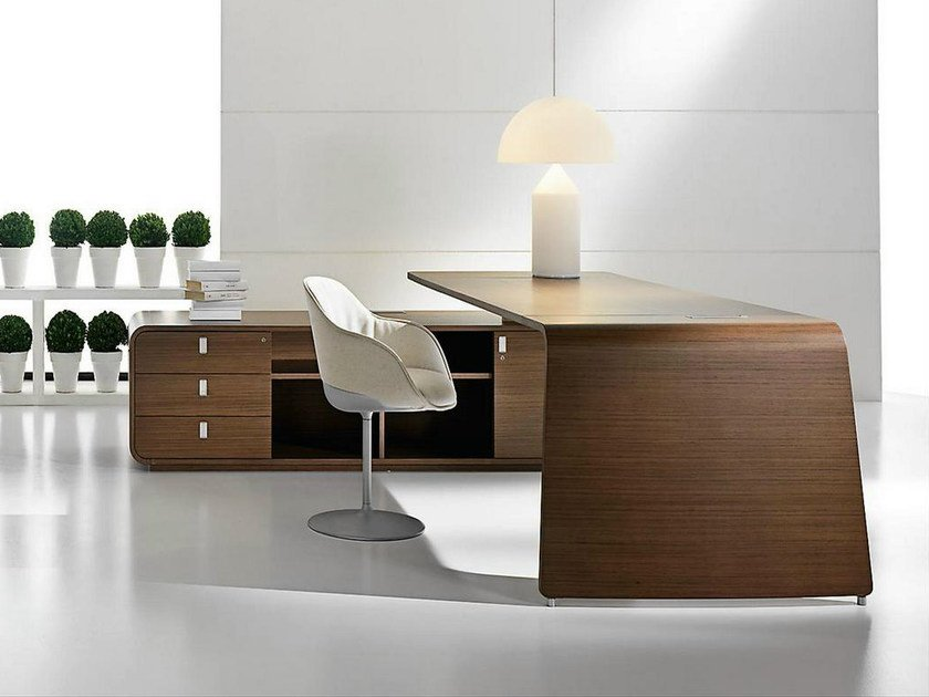 L Shaped Wood Veneer Executive Desk With Drawers Sestante Office By