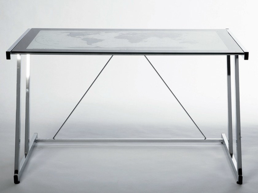 Rectangular glass and steel writing desk MONDO by KARE-DESIGN