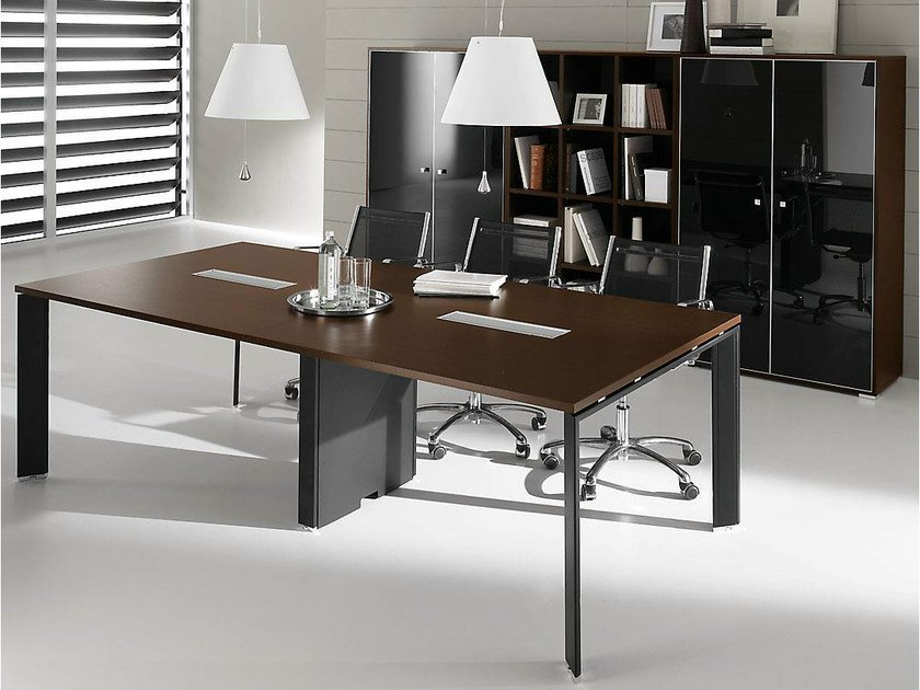 Rectangular steel and wood meeting table PRATIKO | Meeting table by IFT