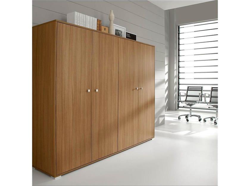 Tall wood veneer office storage unit with hinged doors PRATIKO   Tall office storage unit by IFT