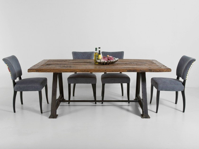 Rectangular stainless steel and wood dining table RAILWAY UNIQUE by KARE-DESIGN