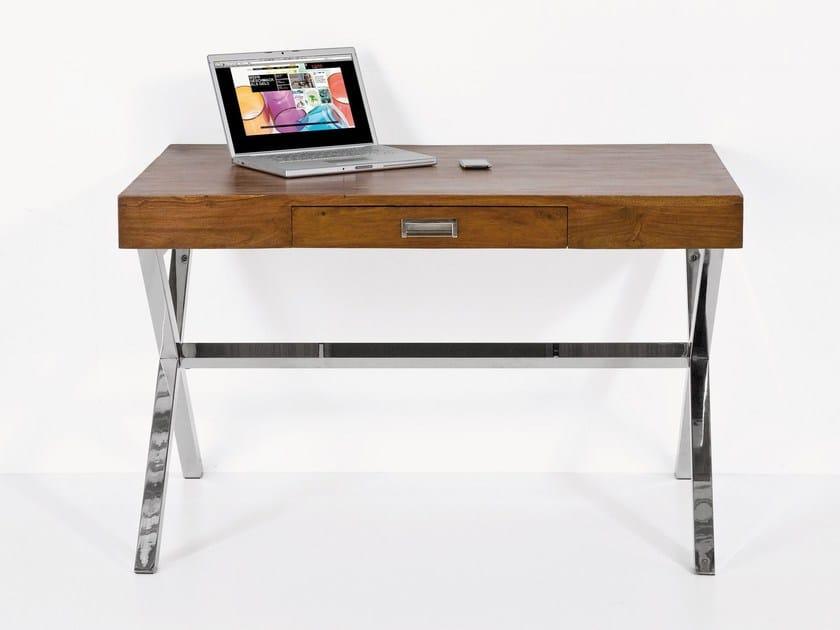 Rectangular metal writing desk with drawers MANHATTAN WOOD | Writing desk by KARE-DESIGN