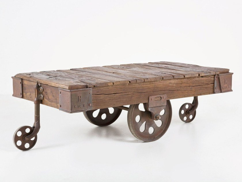 Rectangular wooden coffee table with casters RAILWAY | Coffee table by KARE-DESIGN