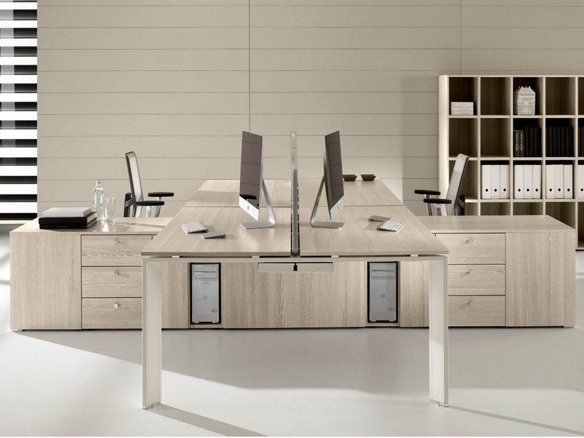 Sectional steel and wood workstation desk with drawers COWORK | Office desk by IFT