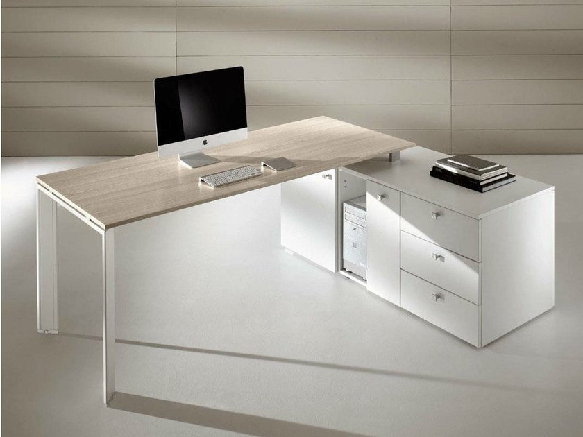 L-shaped workstation desk with drawers COWORK | L-shaped office desk by IFT