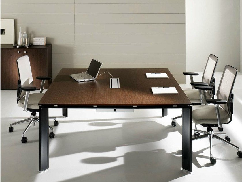 Square steel and wood meeting table COWORK | Meeting table by IFT