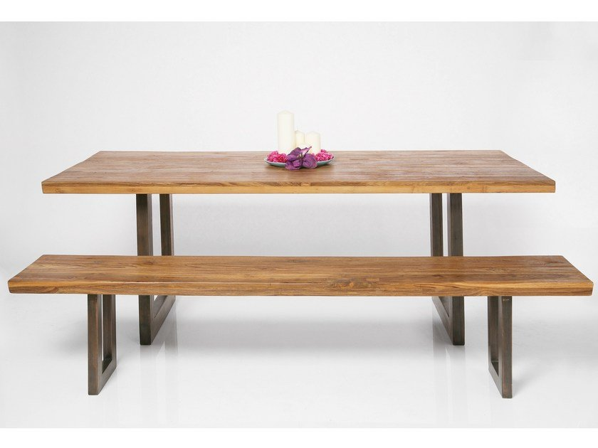 Rectangular steel and wood dining table FACTORY | Table by KARE-DESIGN
