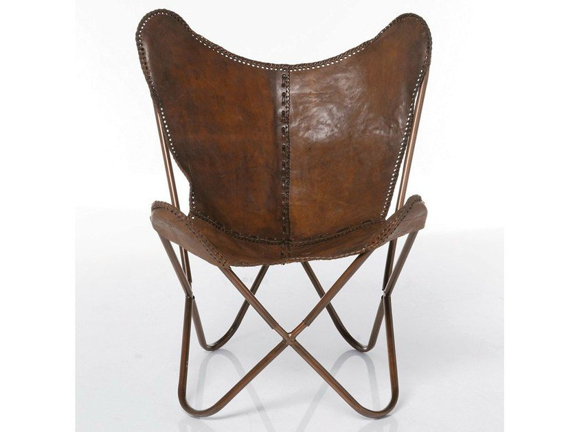 Leather armchair BUTTERFLY BROWN by KARE-DESIGN