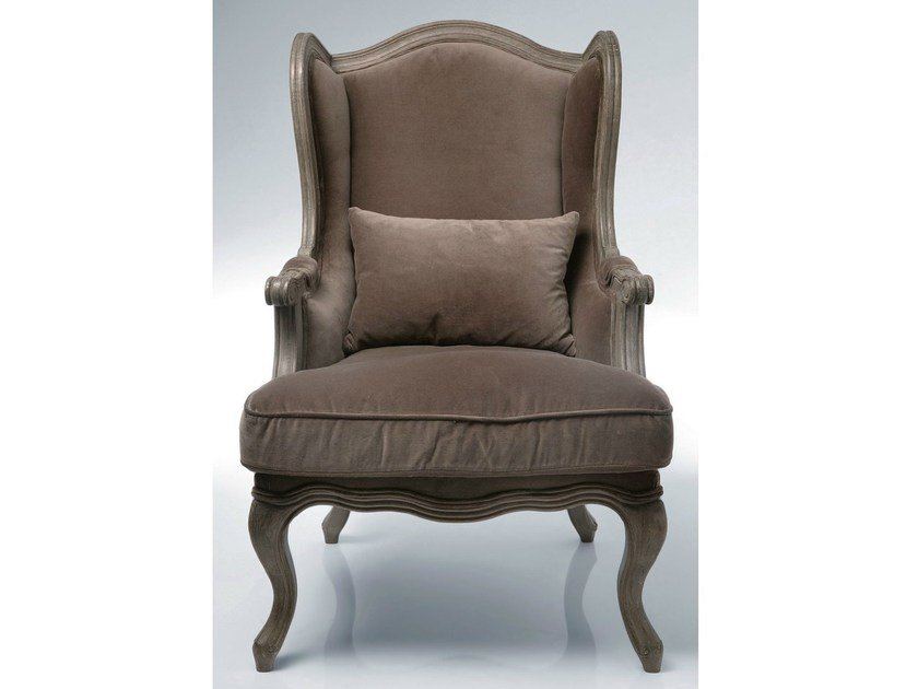 Upholstered fabric armchair with armrests VILLA GRANDFATHER by KARE-DESIGN