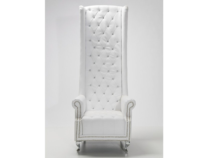 High-back upholstered leather armchair with armrests QUEEN WHITE by KARE-DESIGN