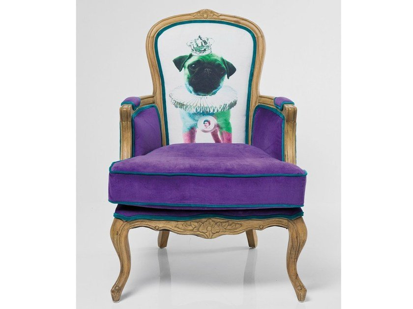 High-back upholstered fabric armchair with 4-spoke base VILLA GRANDFATHER MOPS by KARE-DESIGN