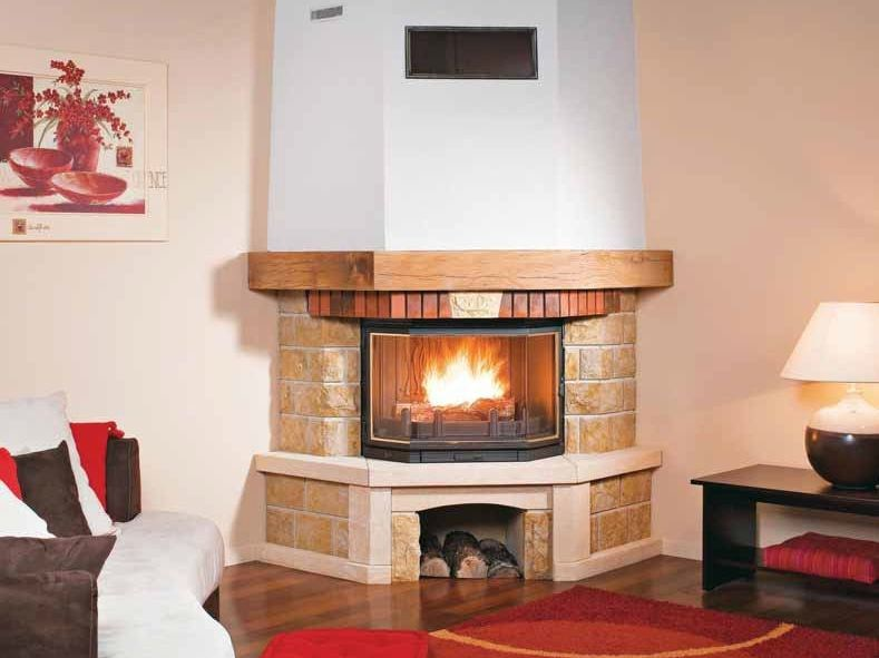 Wood-burning corner fireplace with panoramic glass MANOSQUE by CHEMINEES SEGUIN