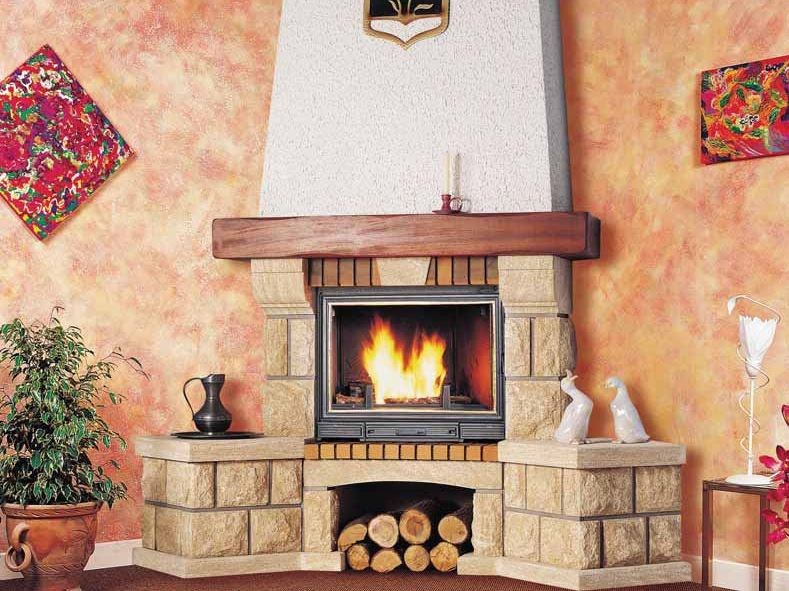 Wood-burning corner fireplace with panoramic glass DIANE by CHEMINEES SEGUIN