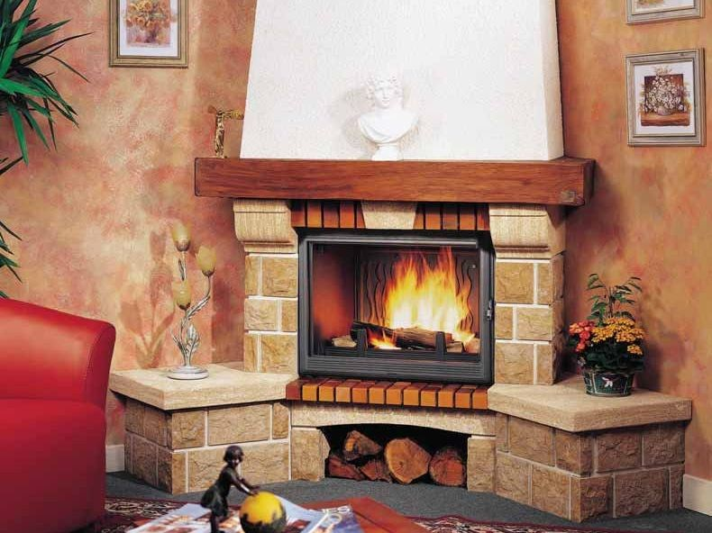 Wood-burning corner fireplace with panoramic glass LAVANDOU by CHEMINEES SEGUIN