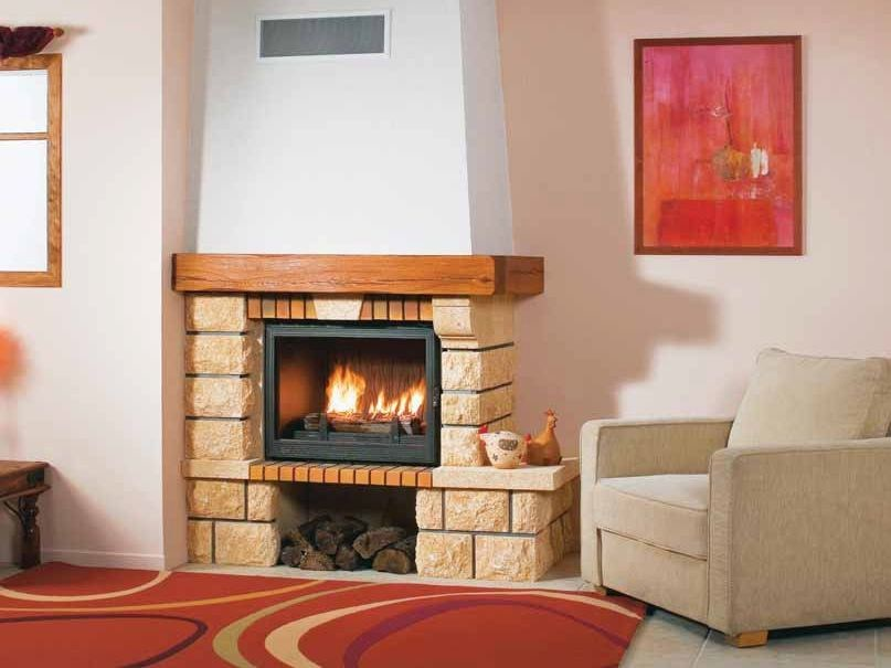 Wood-burning corner fireplace with panoramic glass ALPHA by CHEMINEES SEGUIN