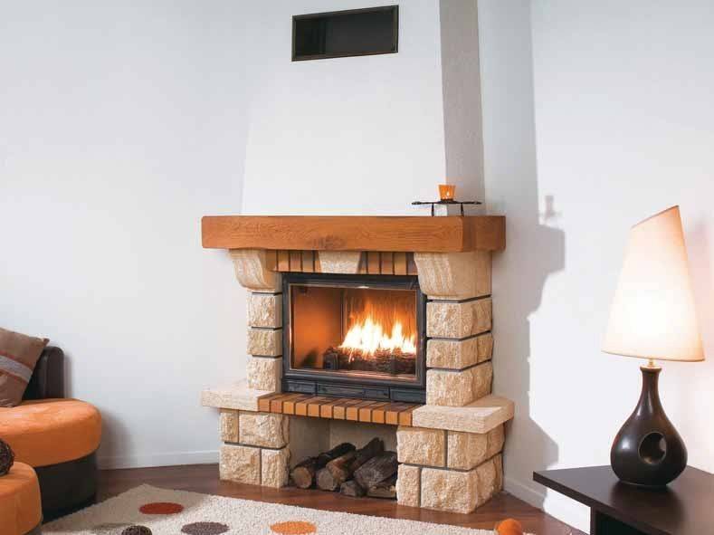 Wood-burning corner fireplace with panoramic glass BRESCIA by CHEMINEES SEGUIN