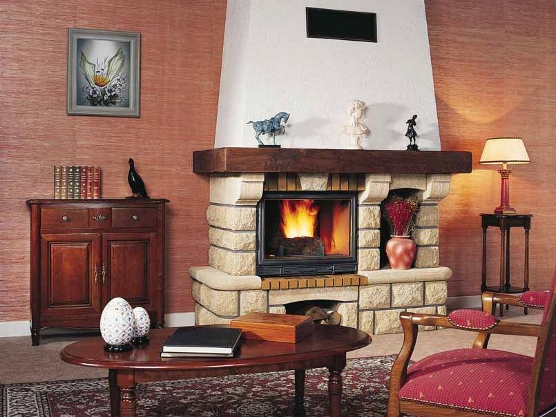 Wood-burning fireplace with panoramic glass AOSTE by CHEMINEES SEGUIN