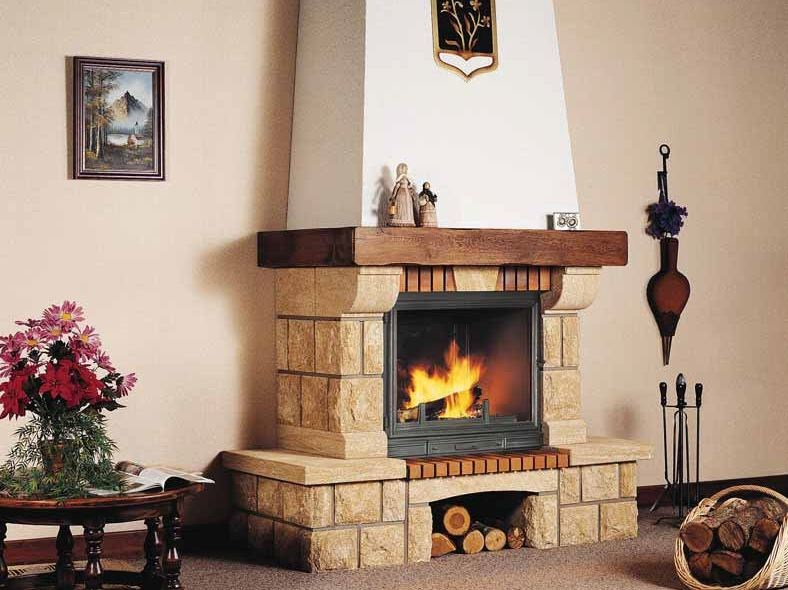 Wood-burning fireplace with panoramic glass CHÂTEAU by CHEMINEES SEGUIN