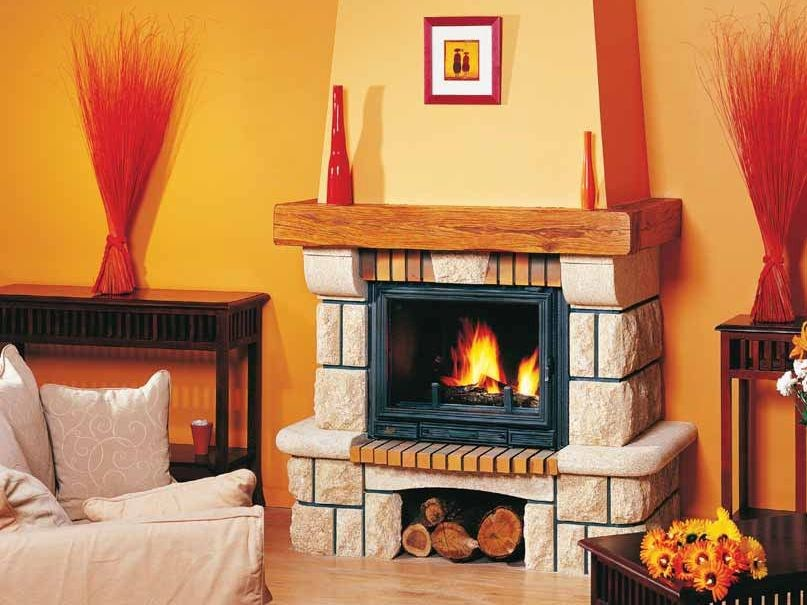 Wood-burning fireplace with panoramic glass OLIA by CHEMINEES SEGUIN