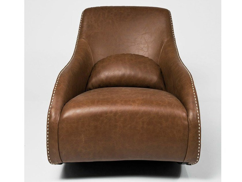 Upholstered leather armchair with armrests SWING RITMO CARA by KARE-DESIGN