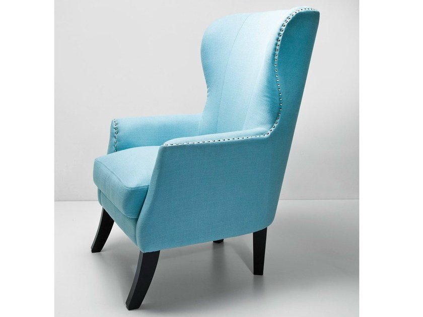 Upholstered High Back Fabric Armchair VEGAS LIGHT BLUE | Armchair By  KARE DESIGN