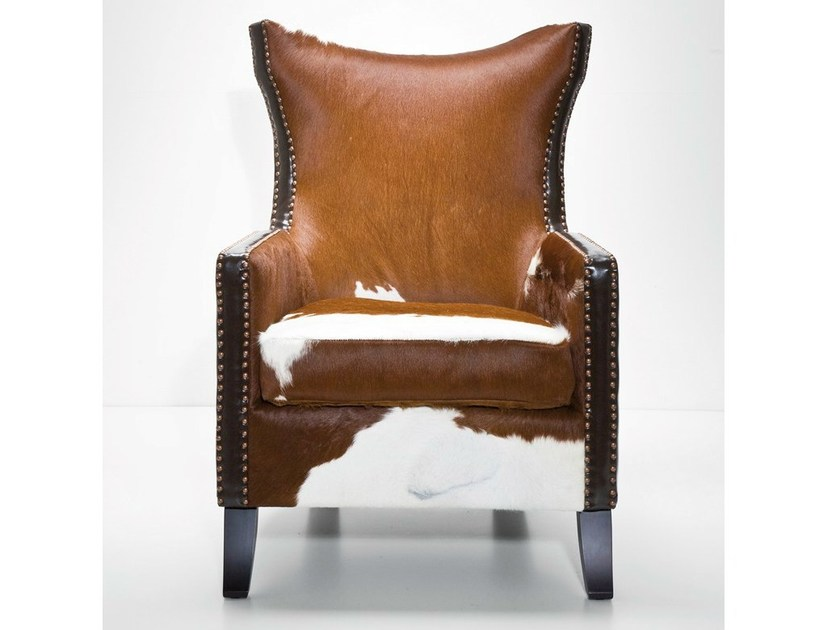 Upholstered leather armchair with armrests DENVER COW by KARE-DESIGN